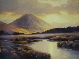 oil painting of mount errigal and the sunrise over the bog county donegal