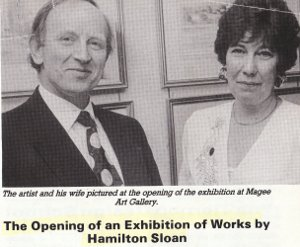 hamilton sloan and his wife Irene at his exhibition in the magee gallery Belfast