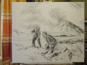 photo of canvas with figures and errigal sketched in with charcoal