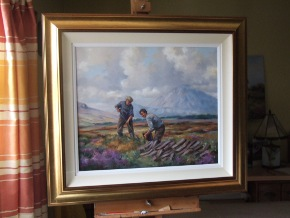 Turfcutter painting framed on easel