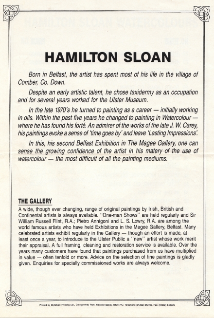 Magee Gallery write-up about Hamilton Sloan