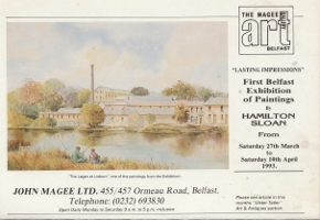 advert from the Ulster Tatler for Hamilton Sloan solo exhibition at the Magee Gallery