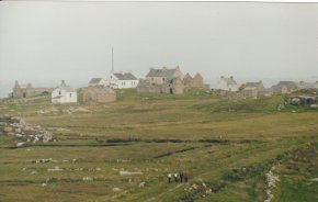 photo of derelict buildings houses and cottages on Gola island north west Donegal