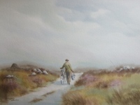 traditional irish watercolour painting by hamilton sloan of a man with a bicycle carrying a bucket of water on a country lane leading through a donegal bog