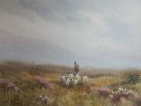 water colour painting by Hamilton Sloan of a misty Donegal bog with a shepherd driving a flock ofsheep through the purple heather